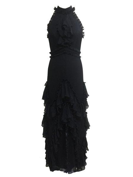 Black Ruffled Halter Sleeveless Silk-chiffon Evening Dress