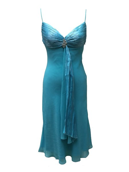 Blue Beaded Ruched Sheath Spaghetti Midi Dress
