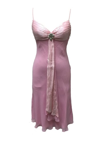 Pink Beaded Ruched Spaghetti Midi Dress