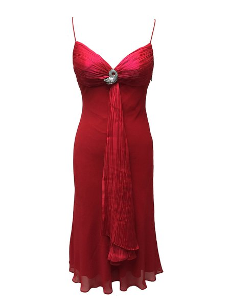 Red Beaded Solid Chiffon Spaghetti Midi Dress