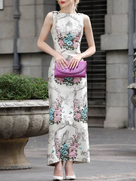 Apricot Floral Vintage Jacquard PolyesterSleeveless Maxi Dress