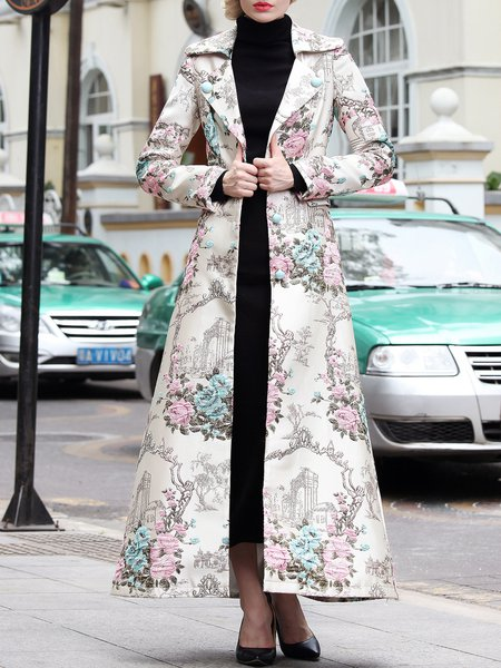 Apricot Long Sleeve Jacquard Floral  Coat