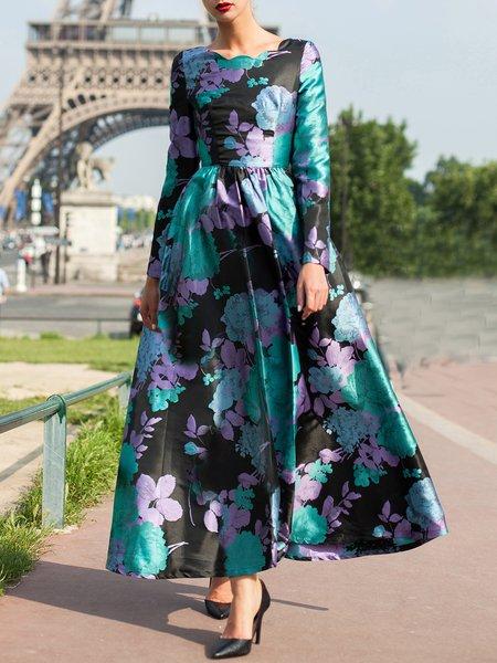 Green Floral Print A-line Vintage Maxi Dress