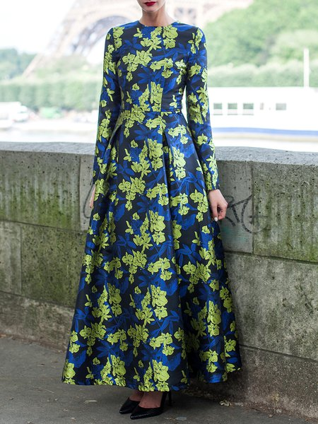 Long Sleeve Floral Print Crew Neck Vintage Maxi Dress