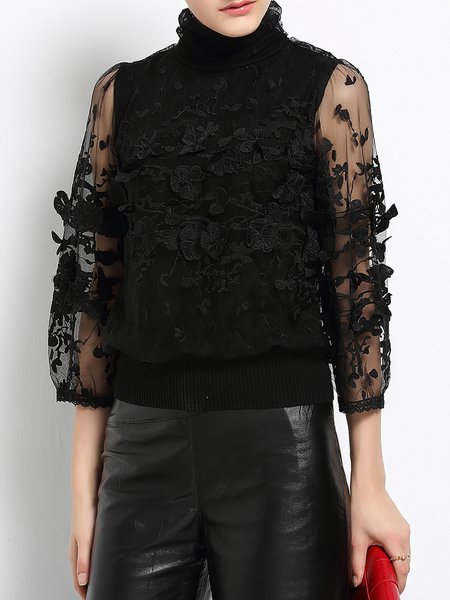 Black Floral Embroidered Mesh Turtleneck 3/4 Sleeve Top