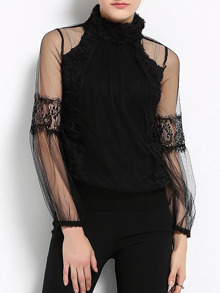 Black See-through Look Turtleneck Mesh Long Sleeved Top