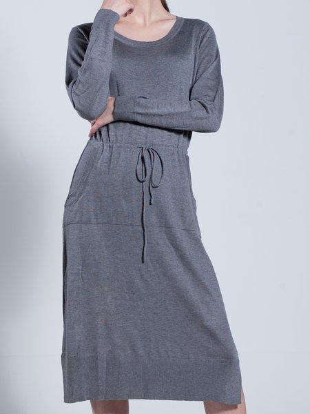 Gray Long Sleeve Shift Crew Neck Pockets Sweater Dress