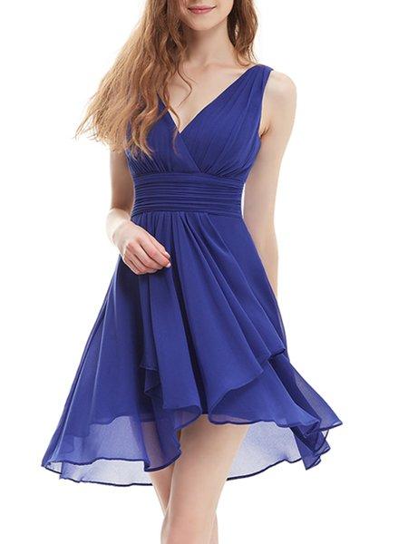 Royal Blue Sleeveless Chiffon High Low Plain Mini Dress