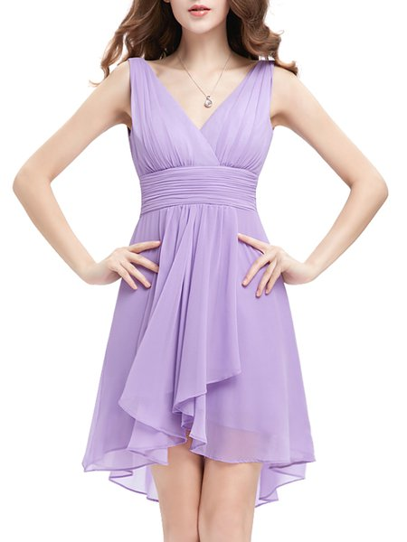 Lavender Girly High Low V Neck Chiffon Plain Mini Dress