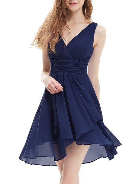 Dark Blue Girly Plain Chiffon Ruffled Mini Dress