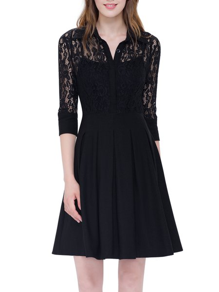 Black Cotton-blend Elegant Paneled Midi Dress