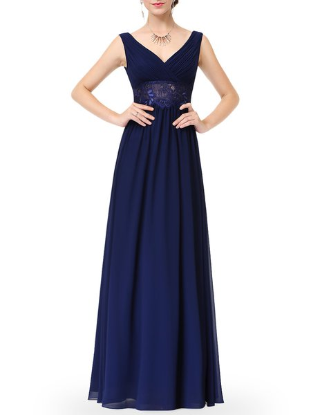 Dark Blue Sleeveless Plunging Neck Ruched Evening Dress