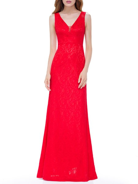 Red Lace Elegant Sleeveless V Neck Evening Dress