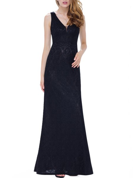 Black V Neck Sleeveless Lace Sheath Evening Dress