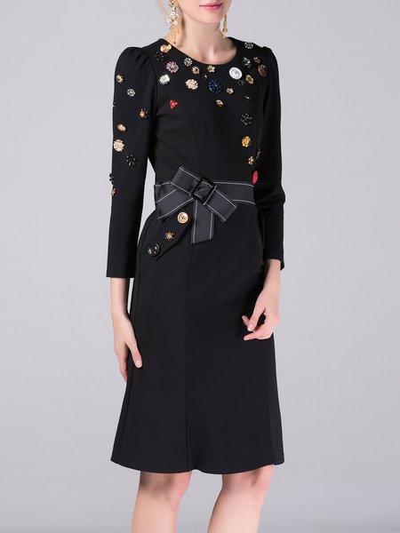 Black Mermaid Beaded Long Sleeve Elegant Midi Dress