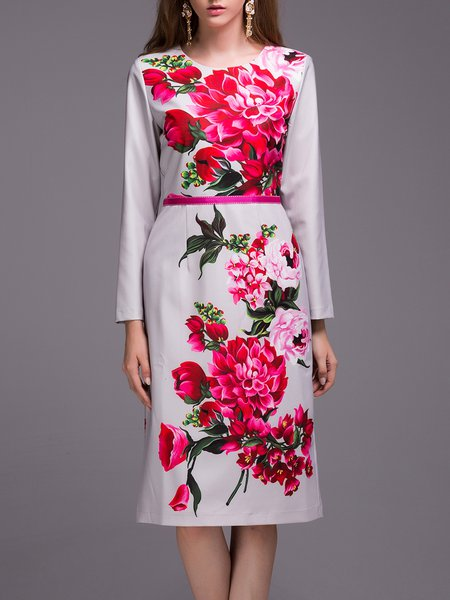 Gray Polyester Floral-print Long Sleeve Midi Dress