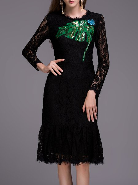 Black Long Sleeve Embroidered Mermaid Lace Midi Dress