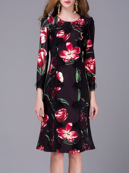 Multicolor Mermaid Long Sleeve Floral-print Midi Dress
