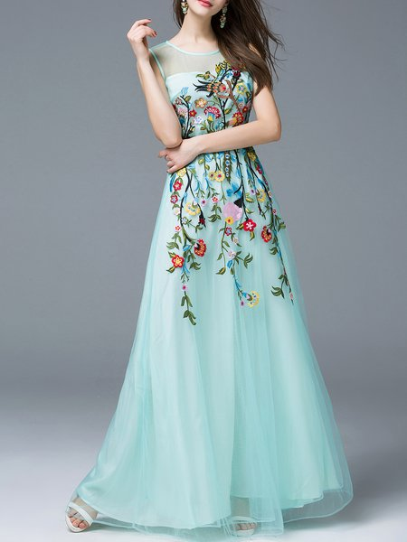 Light Green Mesh Embroidered Sleeveless Evening Dress with Belt