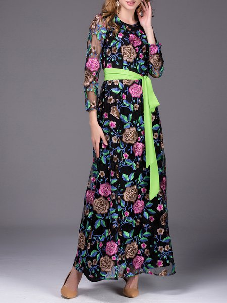 Black Embroidered Long Sleeve A-line Crew Neck Maxi Dress