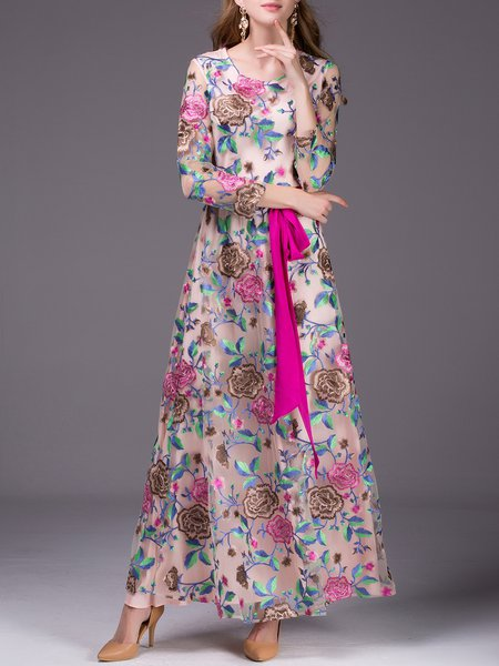 Apricot Long Sleeve Embroidered Floral Evening Dress with Belt