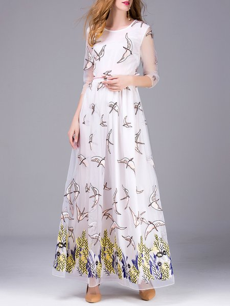 White Embroidered 3/4 Sleeve Evening Dress