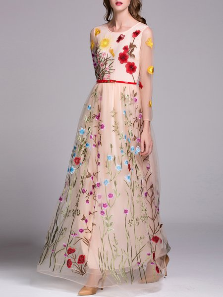 Apricot Floral Swing Elegant Evening Dress with Belt