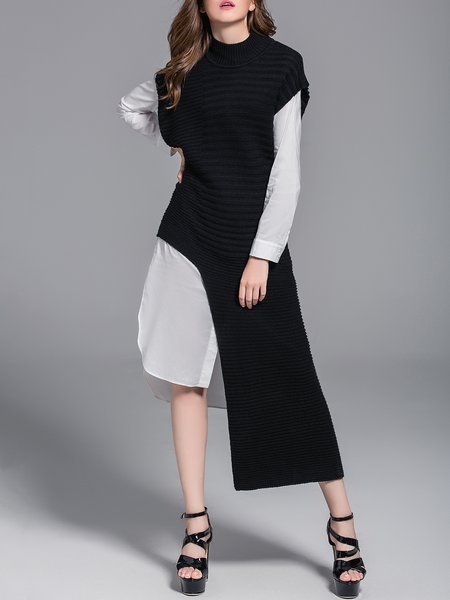 Black Asymmetrical Statement Wool Blend Sweater