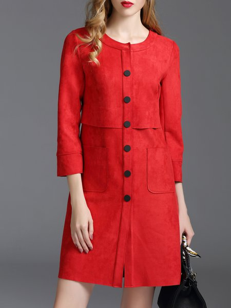 Red 3/4 Sleeve Pockets Solid Suede Coat