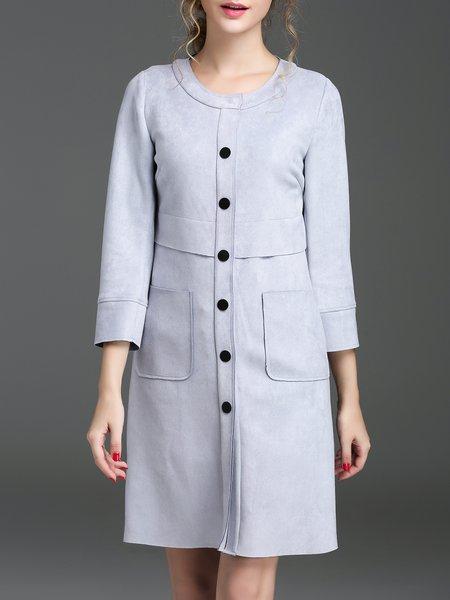 Gray Elegant Buttoned Crew Neck Suede 3/4 Sleeve Coat