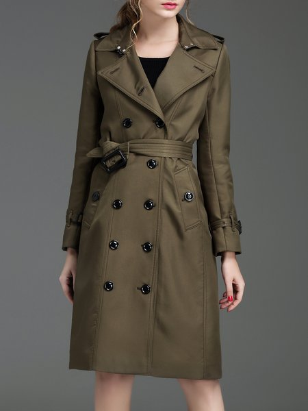 Army Green Buttoned Lapel Solid Long Sleeve Trench Coat with Belt