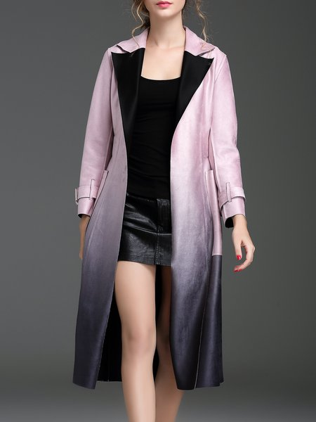 Pink Ombre Elegant Pockets Suede Coat with Belt