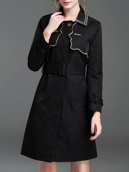 Black Cute Plain Stand Collar Coat with Belt