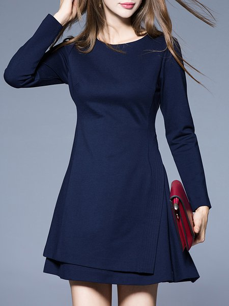 Blue Girly A-line Cotton Asymmetric Solid Mini Dress
