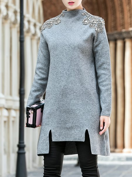Solid Shift Turtleneck Casual Long Sleeve Mini Dress