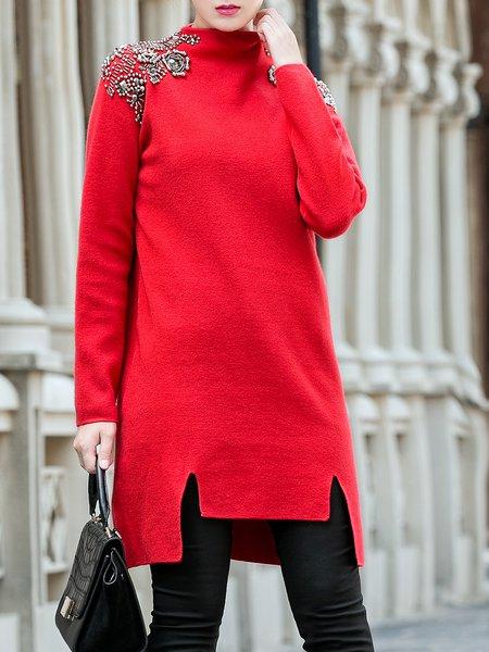 Red Casual Turtleneck Shift Mini Dress