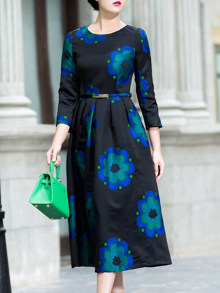 Black 3/4 Sleeve Floral Printed Crew Neck Midi Dress