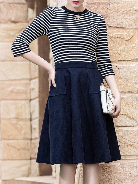 Blue Stripes Pockets Paneled 3/4 Sleeve Midi Dress