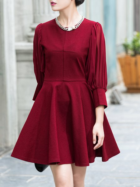 Red Elegant Plain Crew Neck A-line Mini Dress