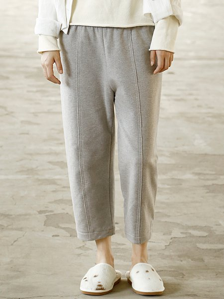 Gray Cotton Casual Solid Track Pants