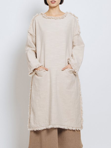 Beige Simple Pockets Linen Ripped Midi Dress