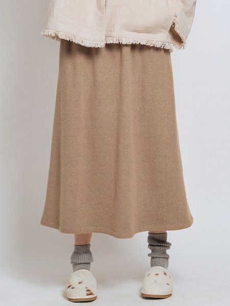 Camel Pockets Solid Simple Wool Blend Midi Skirt