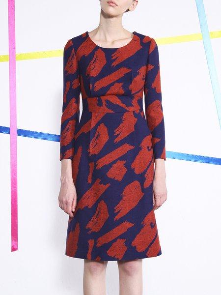 Orange Slit Wool Blend Long Sleeve Abstract Midi Dress