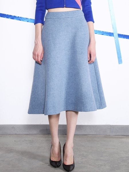 Gray A-line Solid Wool Simple Midi Skirt