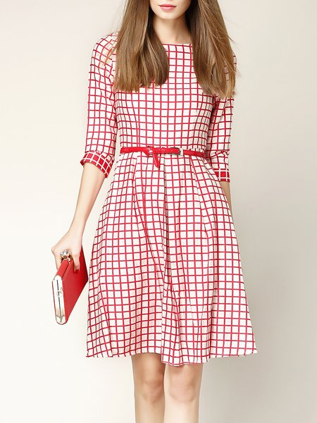 Pink 3/4 Sleeve A-line Printed Crew Neck Midi Dress with Belt
