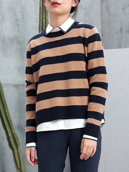 Camel Color-block Casual Knitted Sweater