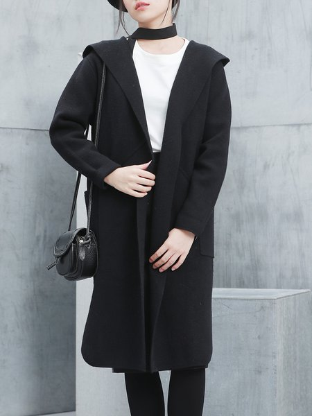 H-line Simple Knitted Hoodie Long Sleeve Coat