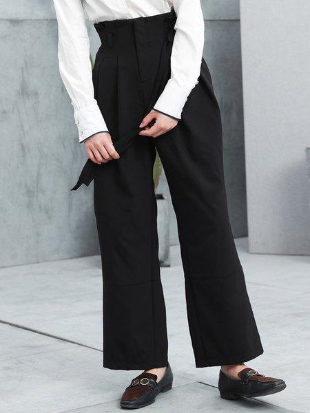 Black Folds Casual Straight Leg Pant
