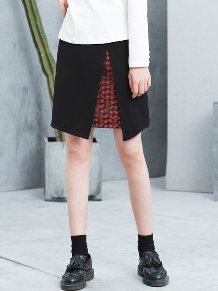 Black Casual Slit Midi Skirt