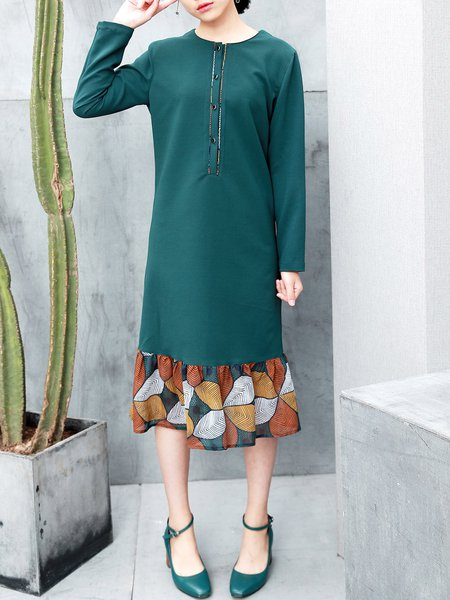 Dark Green Flounce Crew Neck Long Sleeve Printed Midi Dress